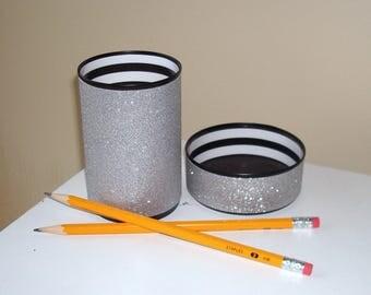 Black White and Silver Glitter Desk Accessories, Bling Pencil Holder, Desk Organizer, Office Decor, Glitter Dorm Decor Makeup Organizer 1100