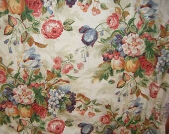 Fruit Peaches Cherries Flowers Floral Kitchen Fabric French Country sewing supply Price for Full 3 1/2 yard piece 50 inches wide SCT