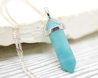 925 Silver Amazonit Pendulum Necklace