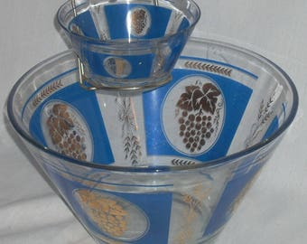 Mid Century Modern Hazel Atlas Blue Gold grapes Wheat Chip and Dip Set