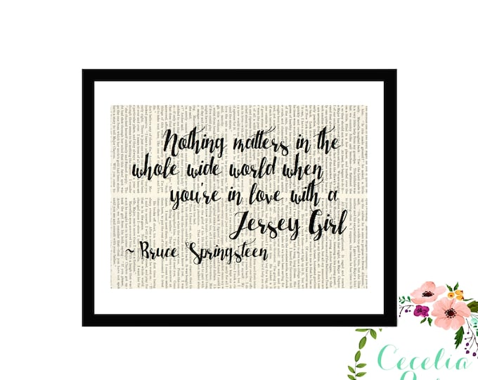 Nothing Matters In The Wholes Wide World When You're In Love With A Jersey Girl Typography Farmhouse Vintage Book Page Art Box Framed Print