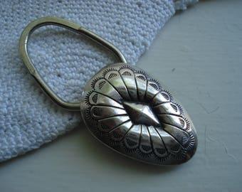 Vintage Native American Sterling Silver Concho Keyfob Keyring