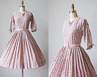 50s Dress - Vintage 1950s Dress - Pink Grey Black Surreal Eyeball Polka Dot Cotton Full Skirt Dress S M - Forty Winks Dress