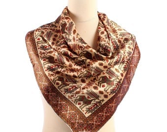 Unicorn Scarf 60s Bohemian Vintage Silk Scarf Novelty Print Kerchief Tribal Beige Brown Neck Scarf Hand Rolled Edges Girlfriend Gift Idea
