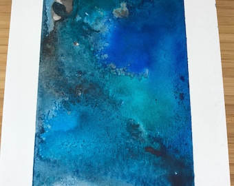 Black and blue watercolor painting
