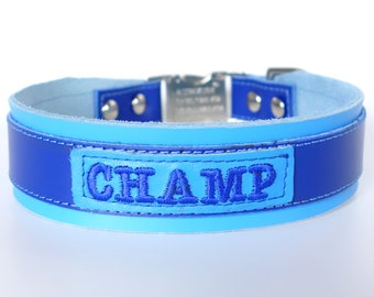 Leather Boy Dog Collar Personalized with Leather ID Tag 1.5 Inch Width Tapers down to One Inch Side Release Buckle Royal Blue and Sky