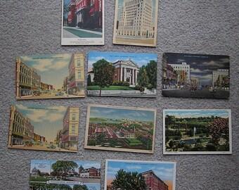 10 Linen Postcards Of Kansas, Fair to Good Condition, 1940s-50s