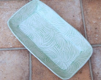 Serving dish platter tray ovenproof handmade in textured stoneware pottery ceramic oven proof