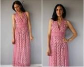 Vintage 1970s Maxi Dress • 70s Indian Cotton Dress • 1970s Dress • Block Print Dress • 1970s Bohemian Dress  -  (small)