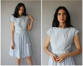 RESERVED............Vintage 1960s Cotton Dress • 60s Dress • 1960s Dress • 1960s Day Dress • 60s Striped Dress • 50s Dress-  (med/large)