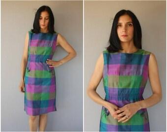 Vintage 1960s Dress   60s Dress   1960s Silk Day Dress   50s Dress   1950s Dress   60s Cocktail Dress   1960s Madras Plaid Dress - med/large