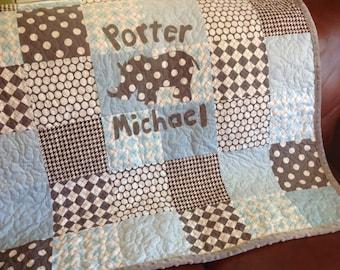 Baby Quilt Boy - Blue Gray Rhino  - Modern Baby Quilt - Baby Blue Gray Quilt - Rhino Baby Quilt - Modern Patchwork - Personalized