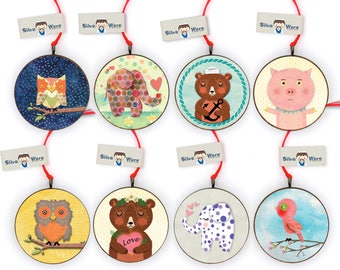 Wooden Animal Tree Ornaments - Owls, Elephants, Bears, Pig and Bird themed Ornaments - My First Christmas Ornaments, New Baby Ornament