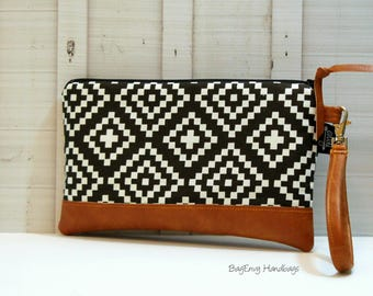 Black Aztec Tile with Vegan Leather - Zippered Wristlet Clutch /  Bridesmaid Gift- Accessory Make Up Bag -