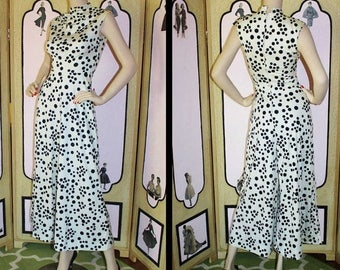 Summer Sale 20% Off Vintage 1960's Jumpsuit in White with Black Polka dots. Small XS