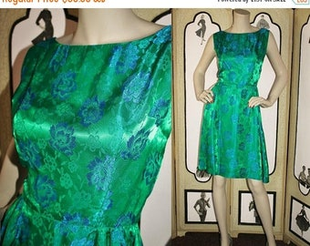 ON SALE Vintage 1960's Cocktail Dress in Emerald Green and Turquoise Satin Damask. Small to Medium.