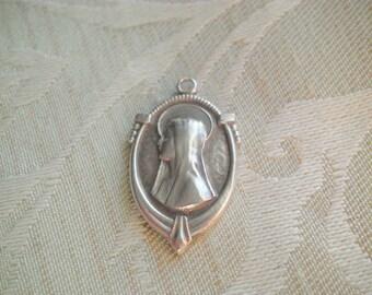 Vintage Art Deco STERLING Virgin Mary & Sacred Heart Scapular Medal