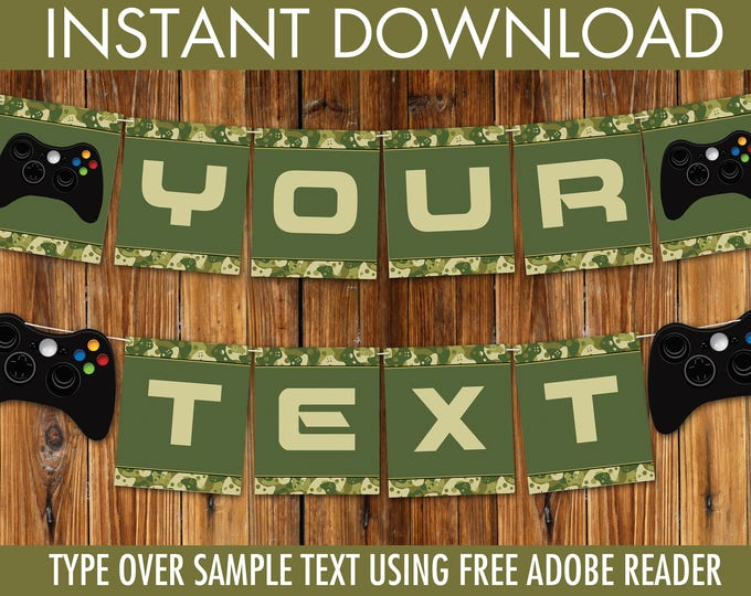 Video Game Party Banner - Gamer Birthday Party, Video Game Decorations, Green Camo | DIY INSTANT Download PDF Printable