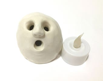 Halloween Ghost with Light, Pottery Ghost, Ceramic Ghost Light