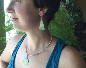 Vintage tin necklace and matching earrings