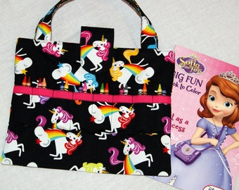 Unicorn Tote - Child's Art and Crafts Bag - Black - Hot Pink - Girl Birthday Gift -Coloring Book and Crayon Caddy - Road Trip Organizer