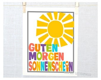 Guten Morgen Liebchen, Typography Kitchen Art Print  Baby Nursery Decor, Sonnenchein