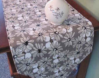 """Taupe Daisy Table Runner  72"""" 90"""" Reversible Neutral Beige Table Runner Black Tan Table Runner Contempo Taupe Table Runner Beige Table Decor"""