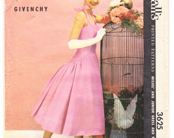 Vintage 1956 McCall's 3625 Designer Givenchy Sewing Pattern Junior's, Misses' Party Formal Dress and Petticoat Size 14 Bust 32
