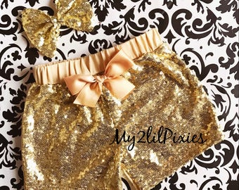 GOLD sequin shorts and Sequins Hair Bow , Sparkle Sequin SHORTS-  girls birthday outfit- girls sequin shorts- toddler shorts-