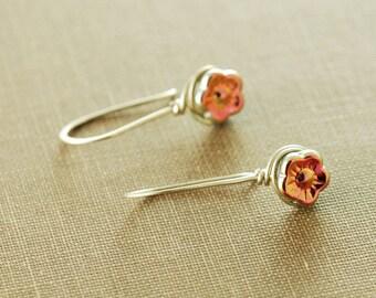 Delicate Flower Blossom Earrings in Sterling Silver, 14k Gold Fill, or Rose Gold; Shimmery Flower Drop Earrings