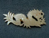 Carved Dragon Brooch Mother of Pearl Vintage Pin