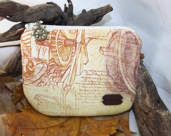 leonardo da vinci fabric  coins  purse, make up bag , crafts  , handmade,Claudia Candeias, ready to ship