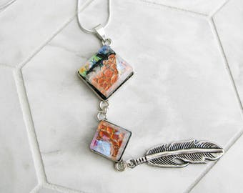 cowgirl jewelry, silver feather charm necklace, dichroic glass, western style, flame aura glass necklace, southwestern jewelry
