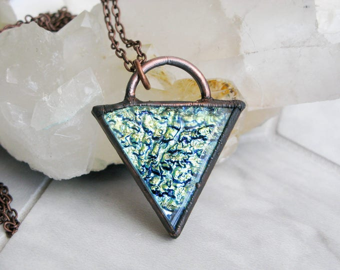 Large Glass Pendant Statement necklace Goddess necklace Fused Glass Pendant Modern Jewelry green triangle Electroformed Copper Necklace