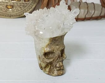 Carved Quartz Crystal Skull - Small