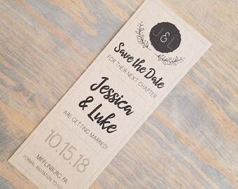 Kraft Rustic Bookmark Save the Date, Bookmark Invitation, Rustic Invitation, Bookmark, Save the Date, Fall Wedding, Country Wedding