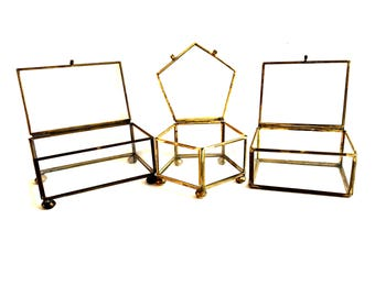 Vintage Glass and Brass and Metal Box Collection, Rectangles and Pentagon, Polygon Jewelry Boxes