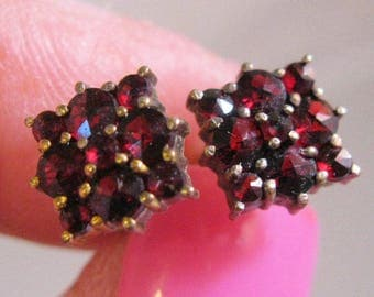 Antique Bohemian Natural Rose Cut Garnet 14k & Sterling Vermeil Stud Earrings Antique Jewelry Jewellery