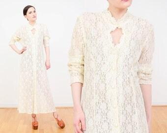 90s Lace Maxi Dress | Ivory Sheer Lace Dress | Cut Out Button Down Dress | Boho Wedding Dress | Grunge Lace Dress | White Cream | Large L