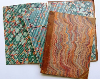 Large Antique Leather Book Covers With Marbled Paper 1800's