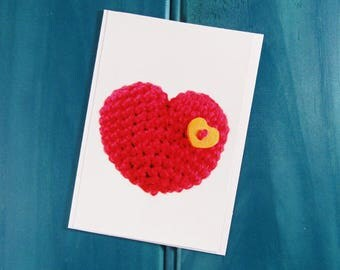 Knitted Heart Greeting Card | Blank Card | Thank You Card | Birthday Card |