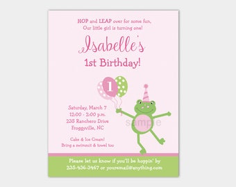 Girls Frog Birthday Invitation, pink and green, 1st birthday printable invite, girls invite, baby girl birthday, Printable