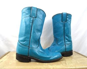 Vintage Justin Blue Kids Western Cowboy Boots - Size 4 1/2