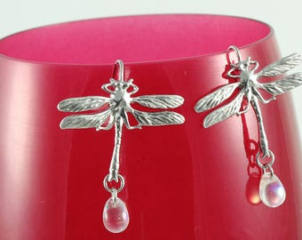 Dragonfly earrings, rhodium plated, glass drops