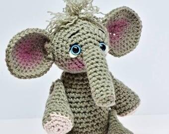 "Ellie the Elephant, Crochet, stuffed animal, stuffed toy, all new materials, posable, grey elephant, stuffed elephant, 10"" tall"