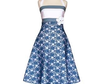 Brautkleid, blau, weiß, Spitze, Braut, Hochzeit, navy, Hochzeitskleid, boho, Punkte, romantisch, Sommerkleid, elegant, boho, vintage