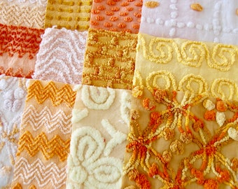 Vintage Chenille Fabric Quilt Squares - 30 - 6 inch squares, orange, gold & yellow - 500-280