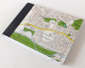Fairwater - Cardiff Street Map 1984 #4 - Recycled Vintage Map Handbound Pocket Notebook with Upcycled Blank Pages