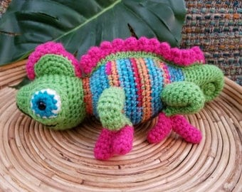 Colorful Chameleon Crocheted Toy