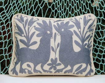 Grey Otomi Sham backed and piped with handwoven artisan rustic eco textiles